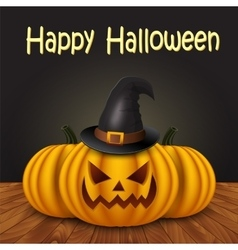Halloween pumpkin with witches hat vector image