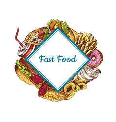 hand drawn colored fast food i vector image
