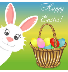 Happy easter bunny basket banner vector