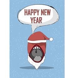 Happy new year devil mouth santa cute christmas vector