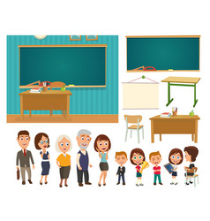 interior of classroom with desk and blackboard vector image