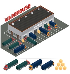 Isometric warehouse storehouse building cargo vector