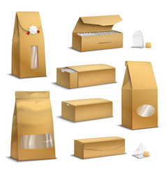 Kraft paper tea packs realistic vector