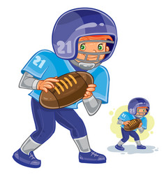 Little boy playing american football vector