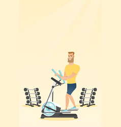 man exercising on elliptical trainer vector image vector image