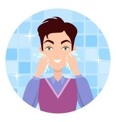 Man Face Wash Washing Shaving Moisturizing vector image