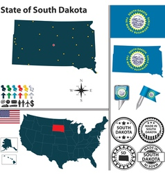 Map of South Dakota vector image vector image