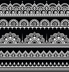 Mehndi Indian Henna tattoo seamless white pattern vector image vector image