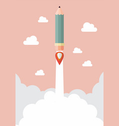 Pencil rocket launch vector