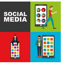 people using smartphone with big mobile device vector image