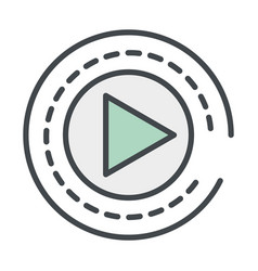 Play button round icon vector