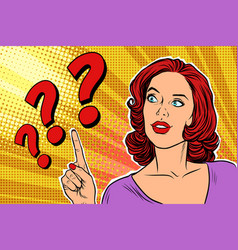 question mark pop art woman vector image