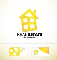 Real estate yellow house logo icon vector