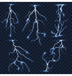 Realistic lightnings set on plaid vector image