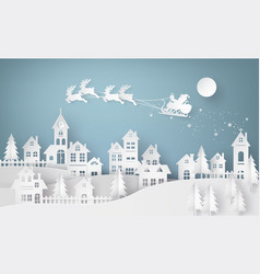 santa claus on the sky coming to city vector image
