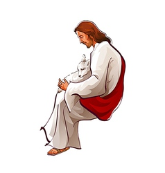 Side view of Jesus Christ sitting with sheep vector image vector image