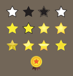 Stars reward style and star medal on brown vector