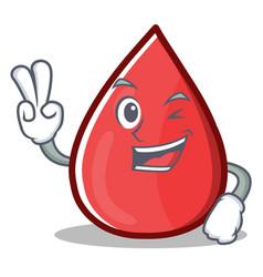Two finger blood drop cartoon mascot character vector