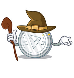 Witch tron coin character cartoon vector
