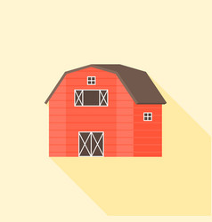 wooden red barn icon vector image vector image