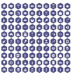 100 restaurant icons hexagon purple vector