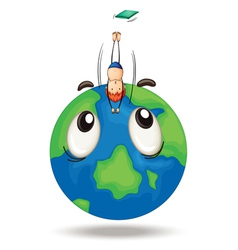 a diving on earth globe vector image