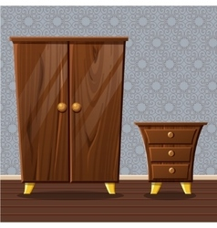 Cartoon funny closed wardrobe and bedside table vector