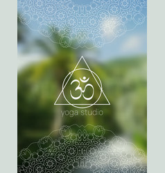 Tropical yoga banner with mandala and aum vector