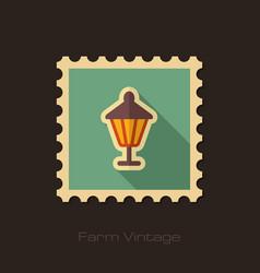 garden lantern retro flat stamp with long shadow vector image