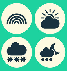 nature icons set collection of sun-cloud nightly vector image