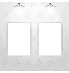White empty frames hanging on the wall vector