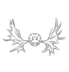 Contour of moose antlers vector