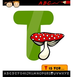 Letter t with toadstool cartoon vector