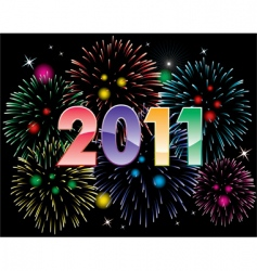 2011 numbers and fireworks vector