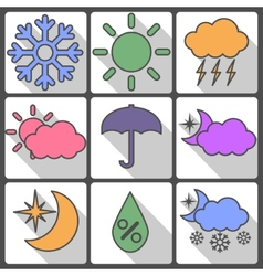 Weather colorful icons on a white background vector