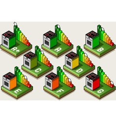 Isometric oven energy efficiency classes vector