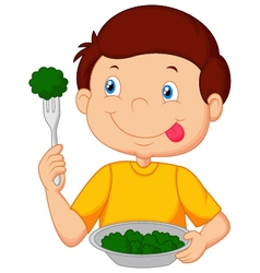 Cute little boy eats vegetable using fork vector
