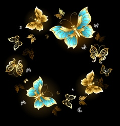 Round dance of golden butterflies vector
