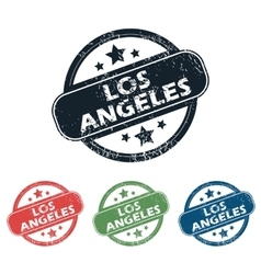 Round los angeles stamp set vector
