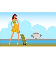 Travel girl background vector image