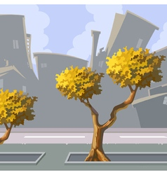 Cartoon curve city with autumn trees vector