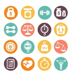Weight and fitness colored icon set vector