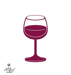 Classic goblet half full with wine stylish alcohol vector