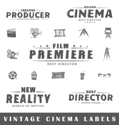 Set of vintage cinema labels vector
