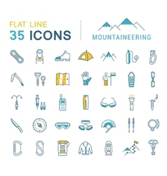 Set flat line icons mountaineering vector
