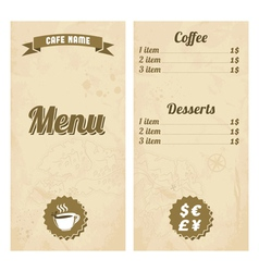 Cafe menu design with treasure map vector image