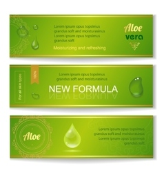 Aloe vera horizontal banners set with drops vector image