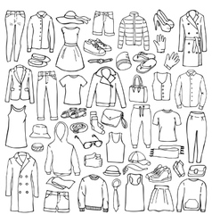 Doodle set with man and woman clothes vector