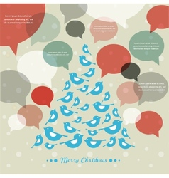 abstract Christmas tree with speech bubbles vector image