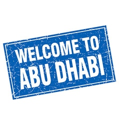 Abu dhabi blue square grunge welcome to stamp vector